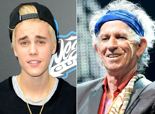 Keith Richards, Justin Bieber