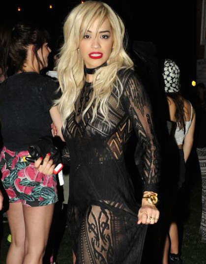 Rita Ora goes braless in see-through dress at Coachella