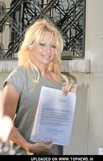 Pamela Anderson at Brigitte Bardot Foundation in Paris