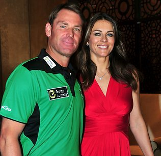 Liz Hurley joins beau Warnie for charity lunch in Melbourne