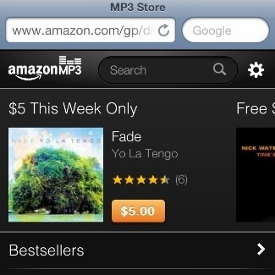 Amazon's browser-based MP3 store optimized for iOS devices
