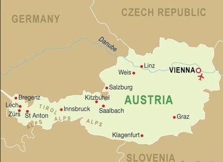 Vienna location on the austria map