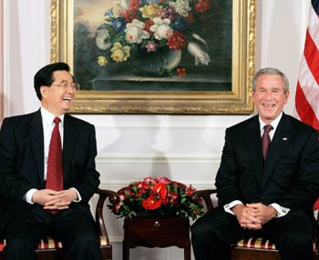 Chinese President Hu Jintao and US President George W Bush