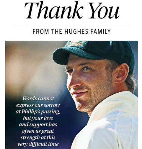 Hughes' family thanks Oz for 'support