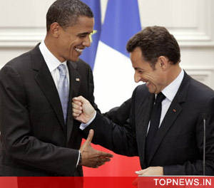 Nicolas Sarkozy, other French leaders congratulate Obama