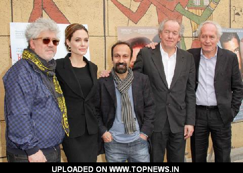 Pedro Almodovar, Angelina Jolie, Asghar Farhadi, Luc Dardenne and Jean-Pierre Dardenne at 69th Annual Golden Globe Awards