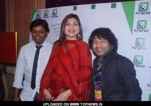 Alka Yagnik and Kailash Kher at the party hosted by singer Krisna