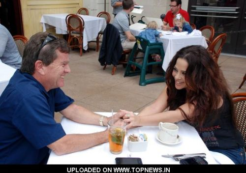 Butch Patrick and Brooke Lewis Sighted at The Farm of Beverly Hills at The Grove in Los Angeles