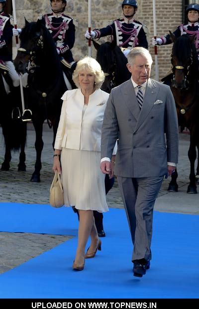 Prince Charles and Camilla Duchess of Cornwall Official Visit with Madrid Mayor Alberto Ruiz Gallardon at the Town Hall