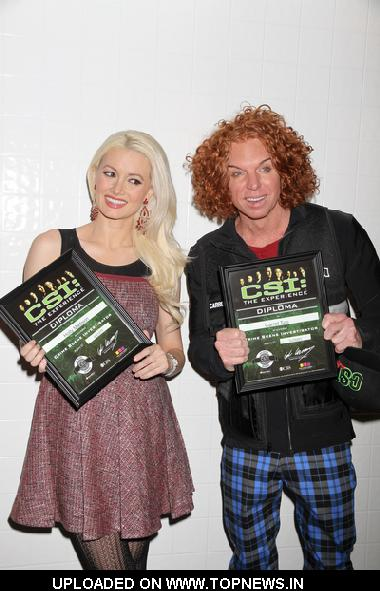 "Carrot Top and Holly Madison at 2nd Anniversary of ""CSI: The Experience"" at the MGM Grand Hotel and Casino in Las Vegas"