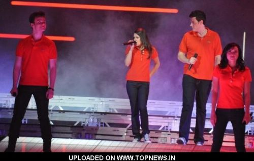 Chris Colfer, Lea Michele, Cory Monteith and Naya Rivera at 2011 Glee Live Tour at the HP Pavilion in San Jose