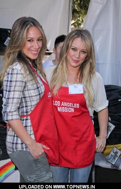 Haylie Duff and Hilary Duff at Los Angeles Mission's 75th Anniversary Year End of Summer Block Party
