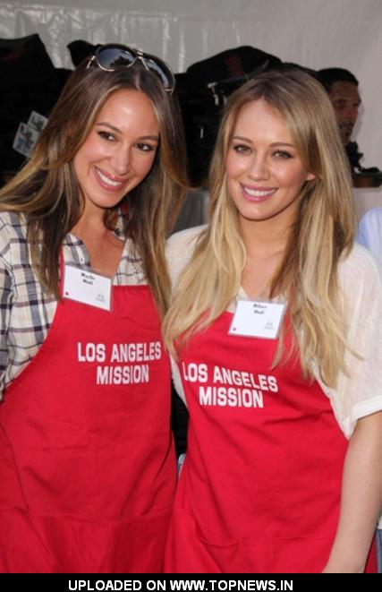 Haylie Duff and Hilary Duff at Los Angeles Mission's 75th Anniversary Block Party