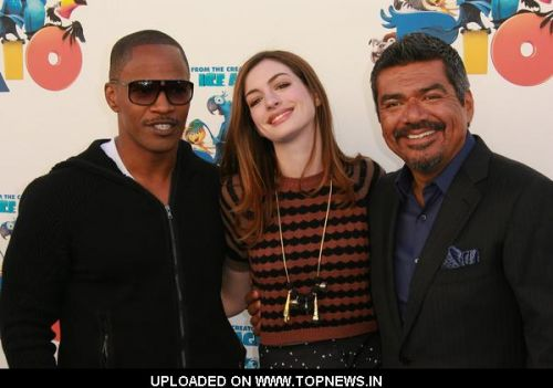 "Jamie Foxx, Anne Hathaway and George Lopez at 20th Century Fox Studio's ""Rio"" Sneak ""Beak"" Screening - Arrivals"