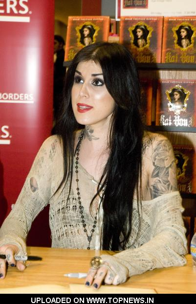 "Kat Von D at Tattoo Artist Kat Von D Signs Copies of ""High voltage Tattoo"