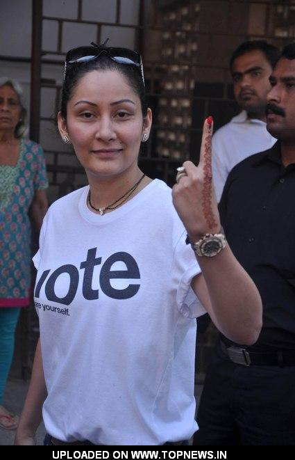 Manyata Dutt went out of their house to cast their valuable votes