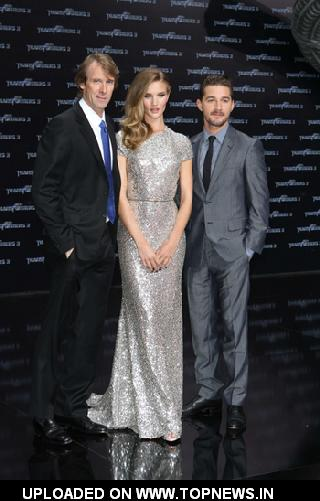 Michael Bay, Shia LaBeouf and Rosie Huntington-Whiteley at 'Transformers 3' Berlin Premiere