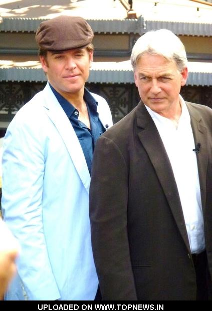 "Michael Weatherly and Mark Harmon at ""Extra"" Interview with the Cast of ""NCIS:Naval Criminal Investigative Service"" at The Grove"