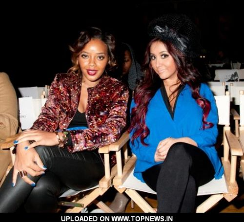 "Angela Simmons and Nicole ""Snooki"" Polizzi at Mercedes-Benz Fashion Week Fall 2012"