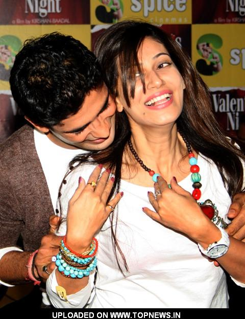 "Payal Rohatgi and Sangram Singh at a Press meet to promote their film ""Valentine's Night"", in Noida on Monday"