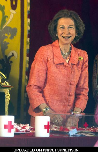 "Queen Sofia of Spain at ""Feast of the Flag"" Fundraising Day for the Red Cross at the Foreign Ministry in Madrid"