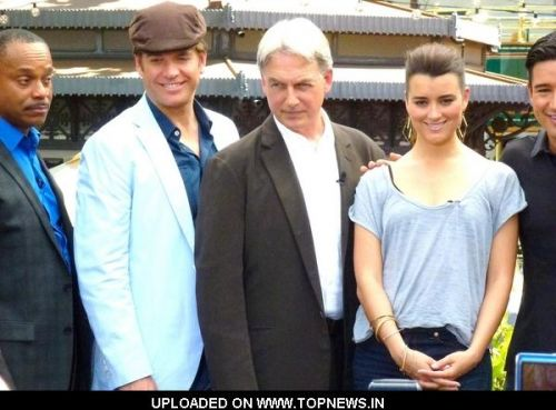 "Rocky Carroll, Mark Harmon and Cote de Pablo at ""Extra"" Interview with the Cast of ""NCIS: Naval Criminal Investigative Service"""