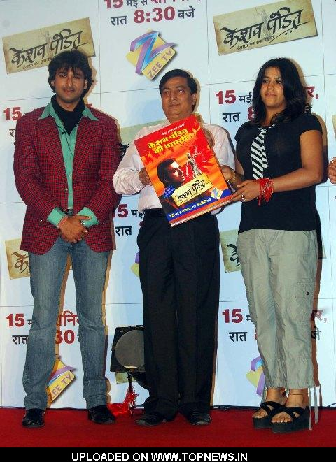 Sarwar Ahuja, Ved Prakash and Ekta Kapoor at the Launch of Keshav Pandit Book