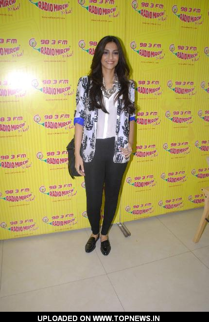 Sonam Kapoor on the sets of Radio Mirchi at Parel