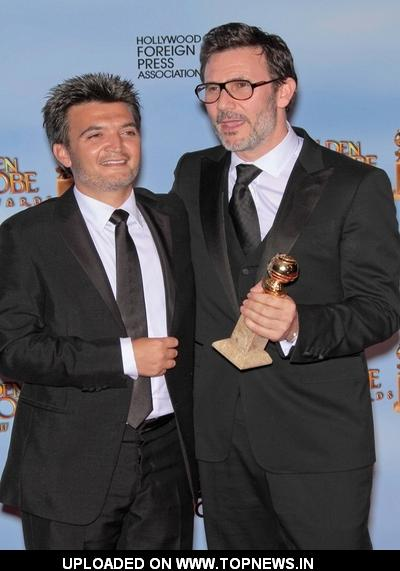 Thomas Langmann and Michel Hazanavicius at 69th Annual Golden Globe Awards - Press Room