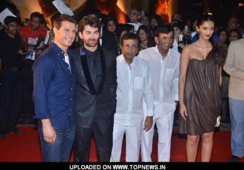 Actors Tom Cruise, Sonam Kapoor, Neil Nitin Mukesh, Mustan and Abbas at Mission Impossible premiere at IMAX Wadala.