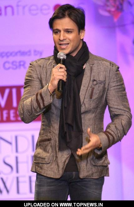 Bollywood actor Vivek Oberoi during a special show at the Wills Lifestyle India Fashion week 2012,in New Delhi on Friday
