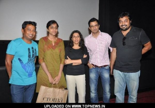 "Anurag Kashyap, Sanjay Suri, Zoya Akhtar and Onir at Special screening and panel discussion of the movie ""The Artist"""