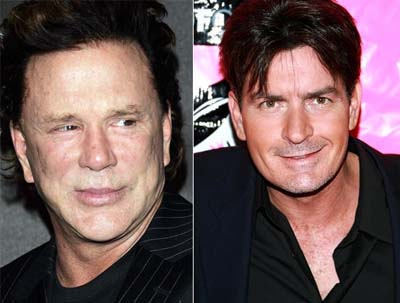 mickey rourke young. Mickey Rourke, Charlie Sheen