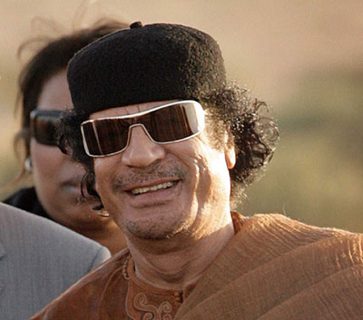 Libyan President Muammar Gaddafi. 2 : Libyan leader Muammar