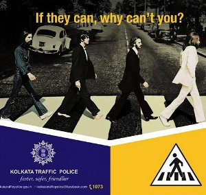 Kolkata police uses Beatles' Abbey Road cover in road safety campaign