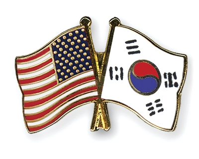 north korean flag and south korean flag. flag usa south korea