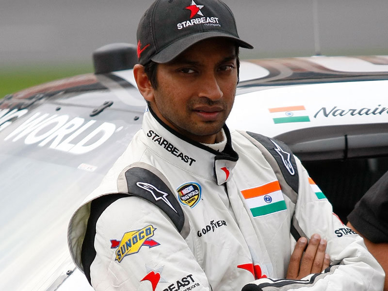 The 41-year old son of father (?) and mother(?), 170 cm tall Narain Karthikeyan in 2018 photo