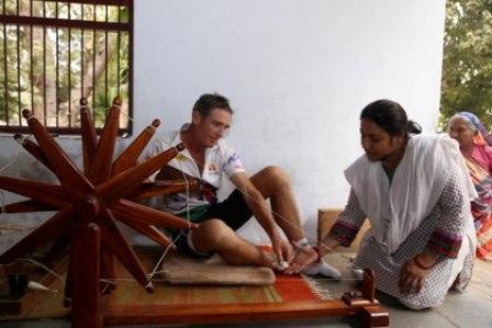Oz marathon runner Pat Farmer visits Sabarmati Ashram at halfway mark