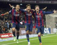 `MSN` trio powers Barca to Champions League quarters