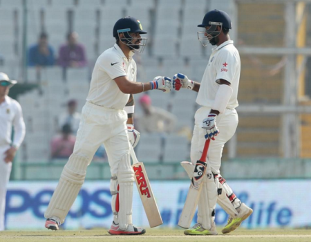 Vizag Test: Kohli, Pujara steady India after early blows