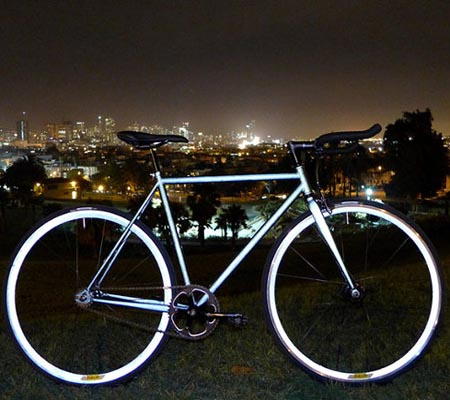 This bicycle glows under car headlights