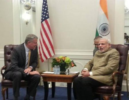 PM Modi meets Mayor of New York City
