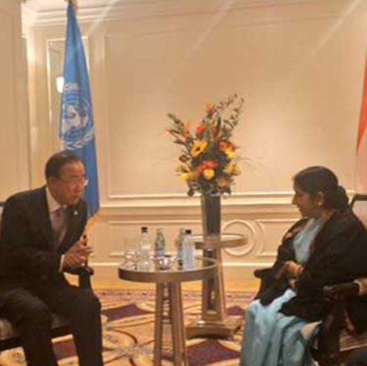 UN Secretary General meets Sushma Swaraj, thanks India for Yoga Day