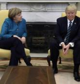 Awkward photo-op: Trump snubs Angela Merkel's request for handshake