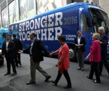 Clinton, Kaine begins bus tour