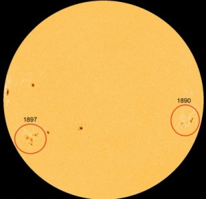 Two large, complex sunspots spotted on Sun's face